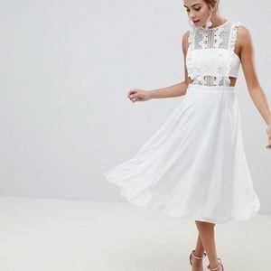 ASOS DESIGN Jumper Midi Dress White with Lace